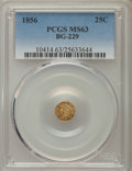 California Fractional Gold , 1856 25C Liberty Round 25 Cents, BG-229, R.4, MS63 PCGS. PCGSPopulation (33/14). NGC Census: (2/3). ...