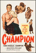 "Movie Posters:Sports, Champion (United Artists, 1949). Trimmed One Sheet (27"" X 40.25""). Sports.. ..."