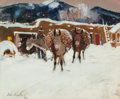 Western:20th Century, Laverne Nelson Black (American, 1887-1938). Burros in Winter, Taos. Oil on paperboard laid on masonite. 15-1/8 x 19-1/8 ... (Total: 2 Items)