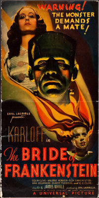 """The Bride of Frankenstein (Universal, 1935). Uncut Pressbook (12 Pages, 13"""" X 26"""") & Ad Mats (3 Pages, 13&..."""