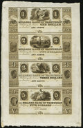 Obsoletes By State:Michigan, Ann Arbor, MI- Millers Bank of Washtenaw $1-$2-$3-$5 18__ G2-G4-G6-G8 Uncut Sheet. ...