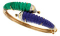 Estate Jewelry:Bracelets, Malachite, Lapis Lazuli, Diamond, Gold Bracelet. ...