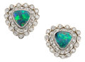 Estate Jewelry:Earrings, Opal Doublet, Diamond, White Gold Earrings. ...