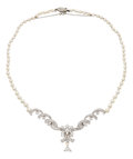 Estate Jewelry:Necklaces, Cultured Pearl, Diamond, Platinum, White Gold Necklace. ...