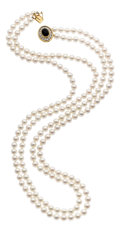 Estate Jewelry:Pearls, Cultured Pearl, Diamond, Black Onyx, Gold Necklace. ...