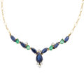 Estate Jewelry:Necklaces, Sapphire, Emerald, Diamond, Gold Necklace. ...