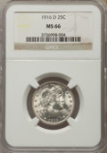 Barber Quarters, 1916-D 25C MS66 NGC....
