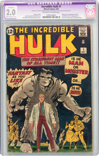 The Incredible Hulk #1 (Marvel, 1962) CGC Apparent GD 2.0 Slight to Moderate (C-2) Off-white to white pages