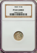 Proof Seated Half Dimes: , 1868 H10C PR64 Cameo NGC. NGC Census: (11/11). PCGS Population (10/20). CDN Wsl. Price for problem free NGC/PCGS coin in P...
