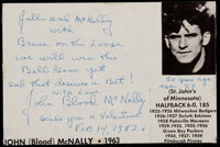 Johnny Blood McNally Signed and Inscribed Index Card