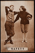 Football Collectibles:Photos, 1910 Football Players and Female with Noseguard Postcard....