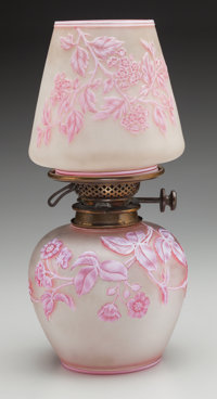A Thomas Webb & Sons Glass Overlay Floral Oil Lamp, Stourbridge, England, circa 1915 Marks: THOS. WEBB & SONS...