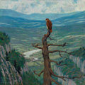Fine Art - Painting, American:Modern  (1900 1949)  , Walter King Stone (American, 1875-1949). Red-Tailed Hawk onMount Hamilton, circa 1932. Oil on masonite. 24 x 24 inches ...