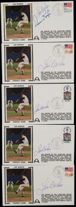 Autographs:Baseballs, Len Barker Signed First Day Covers Lot of 5....