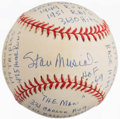 Baseball Collectibles:Balls, Stan Musial Single Signed Stat Inscribed Baseball....