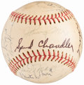 Baseball Collectibles:Balls, New York Yankees Old Timers Multi Signed Baseball (27 Signatures) -PSA/DNA EX-MT 6....