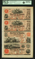 Obsoletes By State:Nebraska, Omaha City, Nebraska Territory - City of Omaha Uncut Sheet of $1-$1-$3-$5 Nov. 15, 1857 Walton 1-1-2-3. PCGS Choice About New ...