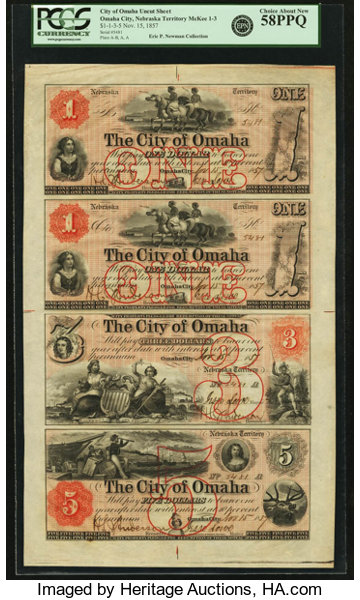 Obsoletes By State:Nebraska, Omaha City, Nebraska Territory - City of Omaha Uncut Sheet of$1-$1-$3-$5 Nov. 15, 1857 Walton 1-1-2-3. PCGS Choice About New ...