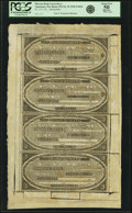Obsoletes By State:Massachusetts, Nantucket, MA - Phoenix Bank Uncut Sheet of $1-$1-$2-$3 18__ MA-870G10-G10-G16-G20. Remainder. PCGS About New 50 Apparent....