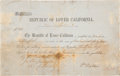 Autographs, William Walker Note of Indebtedness Signed as President of theRepublic of Lower California. ...