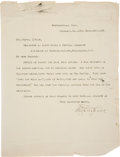 Autographs:Military Figures, Fitzhugh Lee Typed Letter Signed....