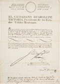 Autographs:Non-American, Guadalupe Victoria Document Signed....
