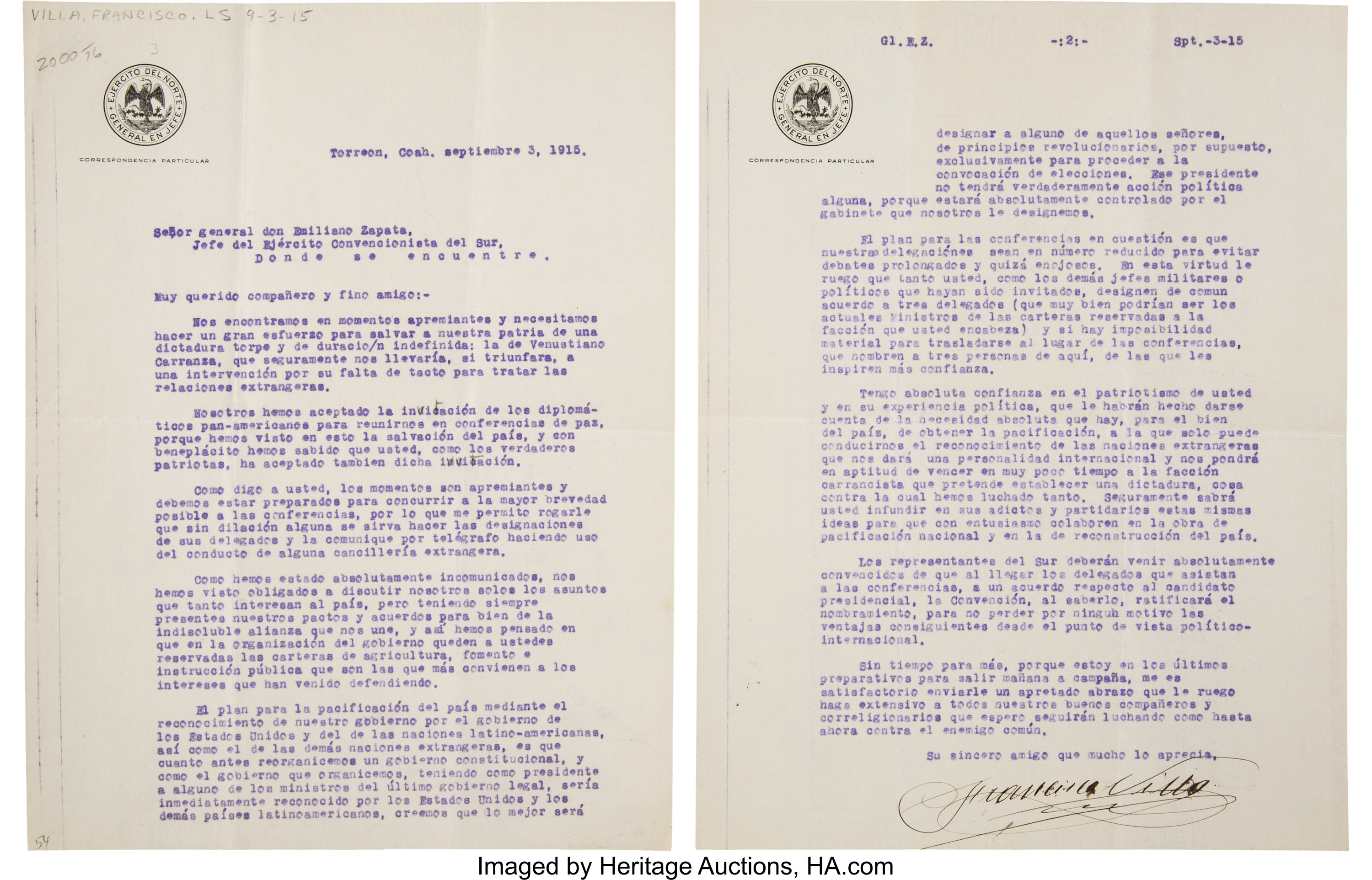 Francisco Pancho Villa Typed Letter Signed To Emiliano