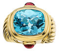 Estate Jewelry:Rings, Blue Topaz, Tourmaline, Gold Ring, David Yurman. ...
