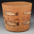 American Indian Art:Baskets, A Tlingit Polychrome Pictorial Twined Basket . c. 1900...