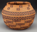 American Indian Art:Baskets, A Yokuts Polychrome Coiled Jar . c. 1900...
