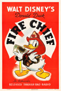 "Movie Posters:Animation, Donald Duck in Fire Chief (RKO, 1940). One Sheet (27"" X 41"").. ..."