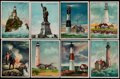 "Non-Sport Cards:Singles (Pre-1950), 1911 T77 Hassan Cigarettes ""Lighthouse"" Complete Set (50)...."