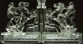 Books:Furniture & Accessories, [Bookends]. Pair of Matching Glass Bookends Depicting Nude onHorse.... (Total: 2 Items)
