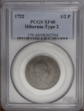 Colonials: , 1722 1/2P Hibernia Halfpenny, Type Two, Harp Right XF40 PCGS. PCGSPopulation (2/6). NGC Census: (0/0). (#170)...