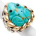 Estate Jewelry:Rings, Turquoise, Black Onyx, Gold, Silver Ring, Dian Malouf. ...