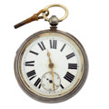 Timepieces:Pocket (pre 1900) , Swiss Massive Sterling Keying Pocket Watch. ...