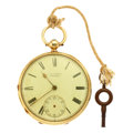 Timepieces:Pocket (pre 1900) , J.D. Fisher 18k Gold Lever fusee For Repair. ...