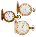 Timepieces:Pocket (post 1900), Two Elgin's & Columbia Hunter's Case Pocket Watches Runners.... (Total: 3 Items)