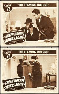 "The Green Hornet Strikes Again (Universal, 1941). Lobby Cards (2) (11"" X 14""). Chapter 13 --""The Flaming..."