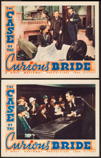 """The Case of the Curious Bride (Warner Brothers, 1935). Lobby Cards (2) (11"""" X 14""""). Mystery. ... (Total: 2 Ite..."""