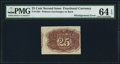 Fractional Currency:Second Issue, Fr. 1283 25¢ Second Issue PMG Choice Uncirculated 64 EPQ.. ...
