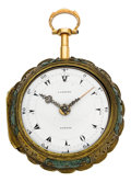 Timepieces:Pocket (pre 1900) , Cabrier London Gold & Shagreen Quarter Hour Repeater, circa1765. ...