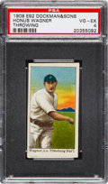 Baseball Cards:Singles (Pre-1930), 1909 E92 Dockman & Sons Honus Wagner, Throwing PSA VG-EX 4. ...