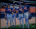 Baseball Collectibles:Photos, 1986 New York Mets Starters Multi Signed Photograph....