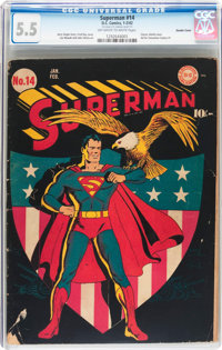 Superman #14 Double Cover (DC, 1942) CGC FN- 5.5 Off-white to white pages