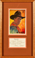 """Movie Posters:Miscellaneous, William S. Hart (c. 1937). Autographed Framed Stationary. (Frame Measures 12.5"""" X 21"""").. ..."""
