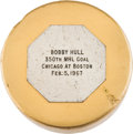 Hockey Collectibles:Others, 1967 Bobby Hull 350th NHL Goal Puck....
