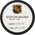Hockey Collectibles:Equipment, 1973 Bobby Orr 179th Career Goal Puck with NHL Certification. ...