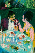 Fine Art - Painting, American:Contemporary   (1950 to present)  , LeRoy Neiman (American, 1921-2012). Couple in Booth (SelfPortrait), 1965. Oil on board. 36-1/4 x 24 inches (92.1 x61.0...
