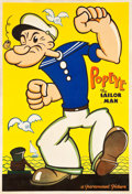 "Movie Posters:Animation, Popeye The Sailor Man (Paramount, 1934). Stock Poster (42"" X 62"").. ..."